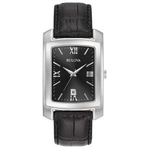 Bulova Men's Stainless Steel Analog-Quartz Watch with Leather-Crocodile Strap, Black, 20 (Model: 96B269
