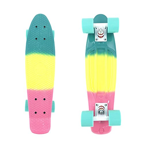 wonnv Retro Mini Cruiser 22 inch Complete Skateboard (Rainbow)