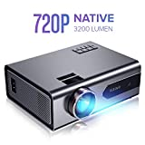 """XIAOYA T8 Mini Projector, Native 720P Portable Movie Projector with 3200 Lumen 170"""" Home Theater Projector Support 1080P Display, Compatible with HDMI, VGA, AV, SD and USB"""