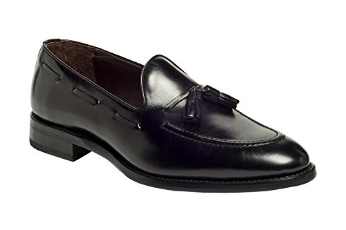 Anthony Veer Men's Philly Tassel Loafers in Goodyear Welted Construction (8D, Black)