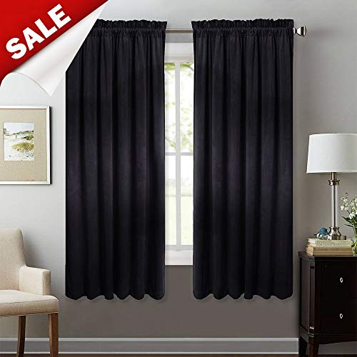Rod Pocket Blackout Velvet Curtains - Super Soft Thick Drapes Sound Lower Heat Blocking Energy Efficient Privacy Protect Panels for Studio/Study Room, Black, W52 x L63, 2 Pcs