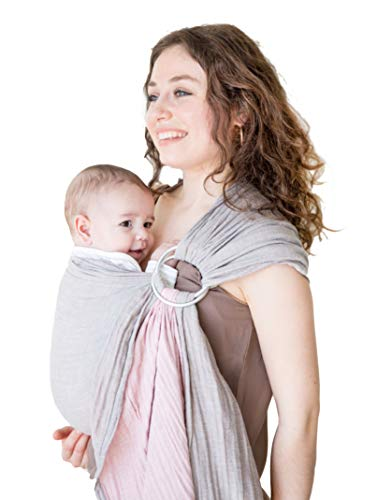 Baby Wrap Carrier Ring Sling-Baby Carrier-Extra Soft Turkish Cotton Muslin Baby Slings Baby Shower Gift Grey&Rose