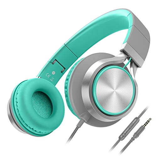 Besom i77 Foldable Headphones with Microphone and Volume Control,Adjustable Wired On-Ear Stereo Earphones, Great for Kids Children Girls Boys Teens Adults(Grey/Mint)