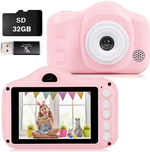 Kids Camera, 12MP Digital Camera for Kids Gifts, 3.5 Inch Large Screen 1080P Digital Video Camera for Kids with 32GB SD Card, SD Card Reader for 3-10 Year Old Children's Camera (Pink)