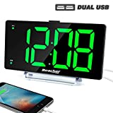 K-star Large Alarm Clock 9' LED Digital Display Dual Alarm with USB Charger Port 0-100 Dimmer for Seniors Simple Bedside Big Number Green Alarm Clocks for Bedrooms