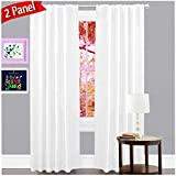 Farm House Curtain-Cotton Textured Slub Fabric 50x84 -White, Cotton Curtains,2 Panels Curtain,Tab Top Curtains,Room Darkening Drapes,Curtains for Bedroom,Curtains for Living Room,Curtains Set of 2