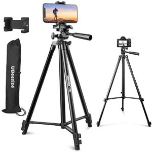 "UBeesize 50"" Phone Tripod Stand, Aluminum Lightweight Tripod for Camera and Phone, Cell Phone Tripod with Phone Holder and Carry Bag, Compatible with iPhone & Android"