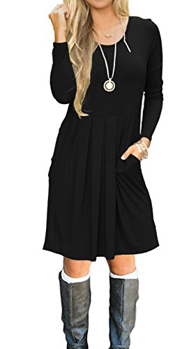 d06622788358 AUSELILY Women's Short Sleeve Pleated Loose Swing Casual Dress With ...