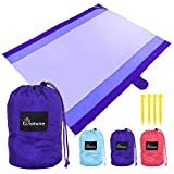 WolfWise 7' x 9' Machine Washable Beach Blanket, XXL Extra Large Pocket Picnic Blanket Made with Soft 70D Ripstop Nylon, Water Resistant & Sand Proof with 4 Stakes, Purple