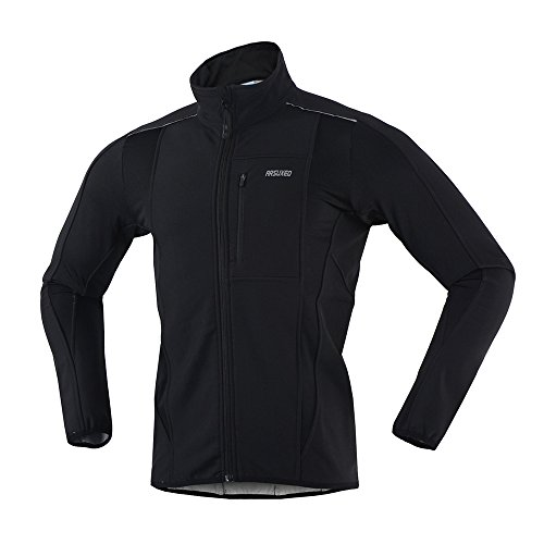 ARSUXEO Winter Warm UP Thermal Softshell Cycling Jacket Windproof Waterproof Bicycle MTB Mountain Bike Clothes 15-K Black Size X-Large