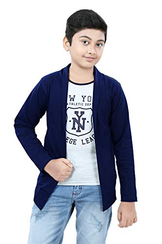 SDS Fashion Boy's Full Sleeve Cotton White Printed T-Shirt with Attached Navy Blue Jacket Shrug Look Smart and Comfortable for Any Casual and Festive Purpose