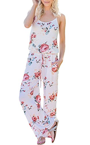 f821c7a4ccd ECOWISH Womens Jumpsuits Summer Floral Printed Spaghetti Strap ...