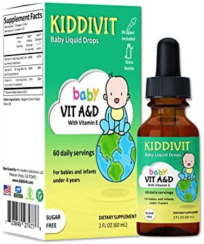 Kiddivit Baby Vitamin A&D Liquid Drops with Vitamin E – 60 Daily Servings, 2 Fl Oz (60 mL) – Dropper Included, Glass Bottle – Sugar Free, Gluten Free, Vegetarian Friendly