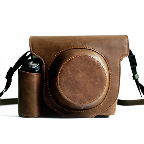 Fujifilm Instax Wide 300 Instant Film Camera Case with strap,Hellohelio Vintage Leatherette limited Edition groove Bag – Brown