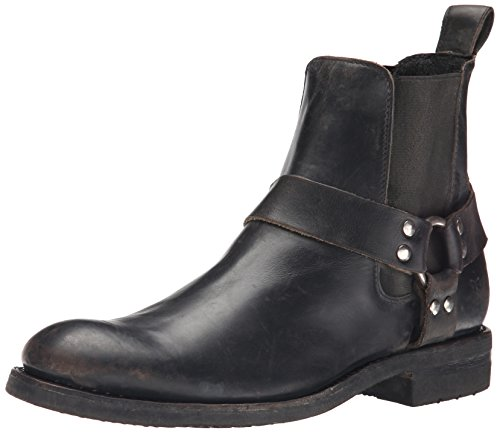 Ankle-length harness boot with deep goring inserts and heel pull tab Oil-resistant sole