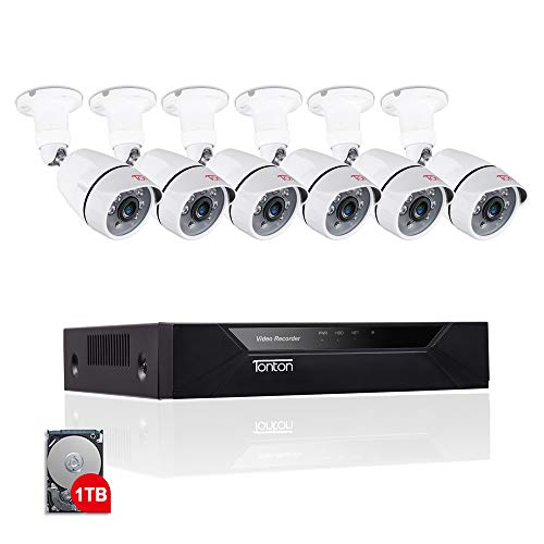 Tonton 8CH Full HD 1080P Home Security Camera System, Surveillance DVR with 1TB Hard Drive and (6) 2.0MP 1920TVL Outdoor Indoor CCTV Bullet Camera,Customizable Motion Detection,Free App&Notifications