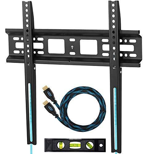 """Cheetah Mounts APFMSB TV Wall Mount Bracket for 20-55"""" TVs Up To VESA 400 and 115 lbs including a Twisted Veins 10' HDMI Cable and a 6' 3-Axis Magnetic Bubble Level"""