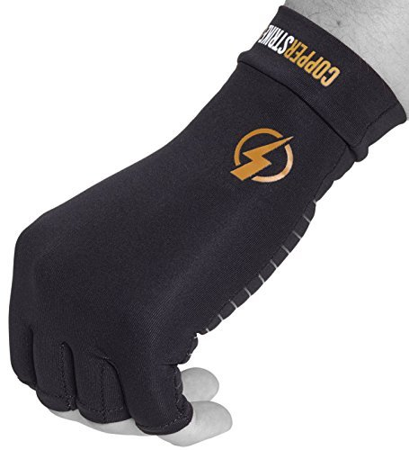 Copper Infused Compression Fingerless Arthritis Gloves Help Relieve Pain in Your Fingers Hand and Wrist | Improve Mobility and Circulation and Resume Normal Activities | by Copperstrike – 1 Pair Large