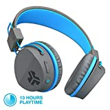 JLab Audio JBuddies Studio Bluetooth Over-Ear Kids Headphones | 13 Hour Battery Life | Studio Volume Safe | Volume Limiter | Folding | Adjustable | Noise Isolation | with Mic | Graphite/Blue