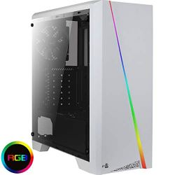 Aerocool Cylon Mid-Tower RGB PC Gaming Case, ATX, Full Tempered Glass Side Window, 13 Lighting Modes, 1 x 120mm Black Fan Included, Built with Gamers in Mind   White