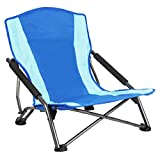 PORTAL Low Beach Camp Chair Folding Heavy Duty Compact Picnic Concert Festival Chair with Carry Bag
