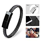 Taygate Type-C Leather Bracelet Link Charging Cable Braided Wrist Band USB Sync Data Charger Cord for Samsung Galaxy (S(7.2'))