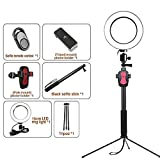 Jiawei LED Floor Lamp - 16Cm Dimmable Ring Makeup Lamp - with Metal Tripod, Phone Clip and 1M Retractable Support Bar - for Blog Selfie Photo Photography,Black