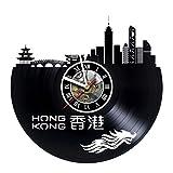artVoloshka Hong Kong - Wall Clock Made of Vinyl Record - Handmade Original Design - Great Gifts idea for Birthday, Wedding, Anniversary, Women, Men, Friends, Girlfriend Boyfriend and Teens