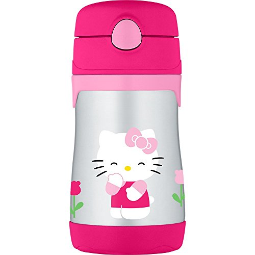 Thermos Vacuum Insulated Stainless Steel 10-Ounce Straw Bottle, Hello Kitty