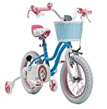 Royalbaby Stargirl Girls Bike with Training Wheels and Basket, Best Gifts for Girls. (Blue, 12 Inch)