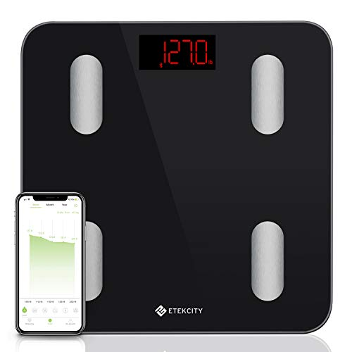 Etekcity Scale, Smart Body Fat Scale, Bathroom Bluetooth Digital Weight Scale Tracks 13 Key Compositions Analyzer, 6mm-Thick Glass, Sync with Fitbit, Apple Health and Google Fit, 400 lbs, FDA Approved