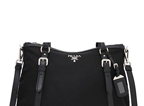 c1654667efd10f Prada Women's Tessuto Soft Calf Hobo Bag 1BC116 Black - Fashion