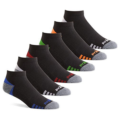 Prince Men's Low Cut Performance Socks for Running, Tennis, and Casual Use (6 Pair Pack) (Men's Shoe Size 12-16 (US), Black)