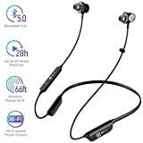TBI Pro i6 Bluetooth Headphones with 28 Hours Per Charge - Triple Drivers Earbuds High-End 6D Sound Effect, IPX7 Waterproof Sport in-Ear Mic Wireless Earphones for Running, Workouts, Excercise, Gym