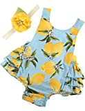 PrinceSasa Baby Girl Clothes Yellow Lemon Floral Ruffles Summer Cake Smash Outfits and Headband for Newborn Gifts,A27,7-12 Months(Size M)
