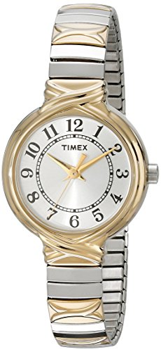 Round watch in gold- and silver-tone featuring white sunray dial with seconds hand and Arabic hour markers Analog-quartz movement with analog display Protective mineral crystal dial window