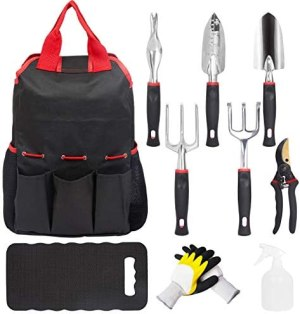 MECHREVO 10 Pcs Garden Tools Set, Lightweight Aluminum Alloy Outdoor Hand Tools with Soft-Grip Handle, Including Storage Tote Bag, Gardening Gifts for Women Men