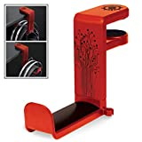 ENHANCE PC Gaming Headphone Holder Headset Hanger Mount - Headphones Stand with Adjustable 360 Rotating Arm, Under Desk Clamp On Design, Universal Fit, Built in Cable Clip Organizer - Red