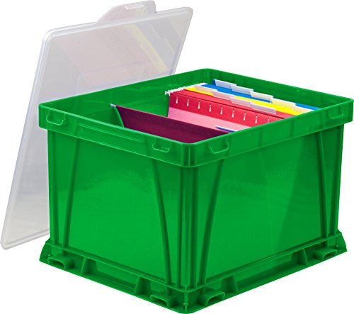 Storex Storage and Filing Cube, 17.25 x 14.25 x 10.5 Inches, School Green/Clear, Case of 3 (62010U03C)