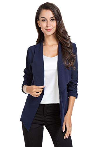 AUQCO Casual Open Front Blazer for Women Work Office Business Jacket Ruched 3/4 Sleeve Lightweight Draped Cardigan 14 Fashion Online Shop gifts for her gifts for him womens full figure