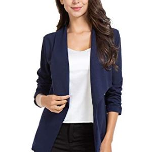 AUQCO Casual Open Front Blazer for Women Work Office Business Jacket Ruched 3/4 Sleeve Lightweight Draped Cardigan 27 Fashion Online Shop gifts for her gifts for him womens full figure
