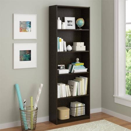 Ameriwood 5-shelf Bookcase, Espresso, 3 Adjustable Shelves, Easy to Assemble