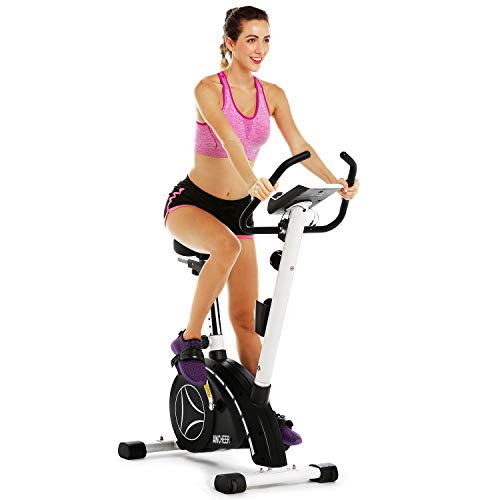 ANCHEER Upright Bike, Magnetic Resistance Exercise Bike for Cardio Workout Indoor Cycling (Black)