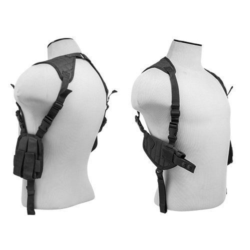 M1SURPLUS Black Adjustable Ambidextrous Shoulder Holster with Mag Pouches fits Beretta 92 96 PX4 PX9 Storm Springfield XD XDM Full Size Pistols