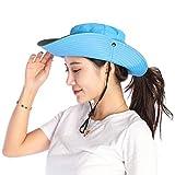 VICSPORT Women Sun Hat Wide Brim Bucket Mesh Boonie Cap Outdoor Fishing Hats UV Protection Blue, Large