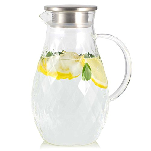 Borosilicate Glass Pitcher with Lid and Spout - 68 Ounces Cold and Hot Water Carafe with Unique Diamond Pattern, Beverage Pitcher for Homemade Iced Tea and Juice.