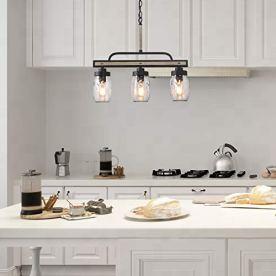 LOG-BARN-Rustic-Mason-Jar-Chandelier-Farmhouse-Lighting-Metal-Finish-Glass-Hanging-Pendant-for-Dining-Room-Kitchen-Island