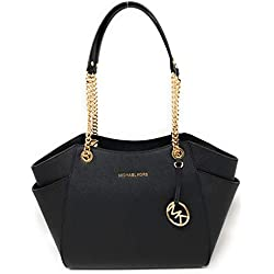 MICHAEL Michael Kors Women's Jet Set Travel Large Chain Shoulder Tote Printed Handbag (Black)