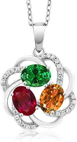 Gem Stone King 925 Sterling Silver Build Your Own Personalized 3 Birthstones Fashion Love Mothers Women's Flower Blossom Pendant Necklace with 18 Inch Chain