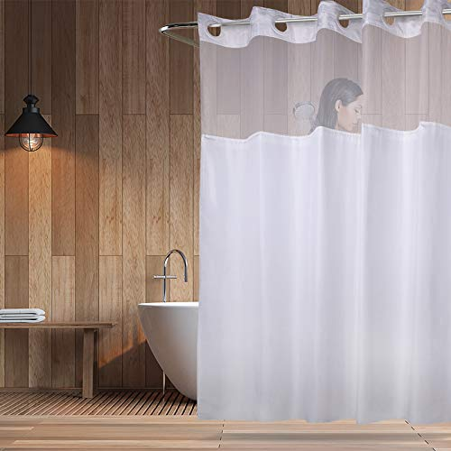 YQN Hookless Shower Curtain with Magnet 70.8 x 74 Inch Polyester Thickening Bath Curtain with Light-Filtering Mesh Screen Anti Mildew ABS Flex-On Rings White